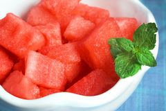 Watermelon with mint in bowl Royalty Free Stock Photo