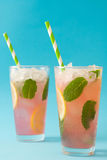 Watermelon mojito. Blue background Royalty Free Stock Images
