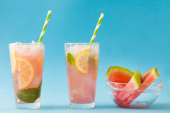 Watermelon mojito. Blue background Stock Images