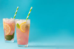 Watermelon mojito. Blue background Royalty Free Stock Photo