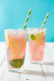 Watermelon mojito. Blue background Stock Image