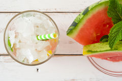 Watermelon mojito on white wooden table Stock Photo