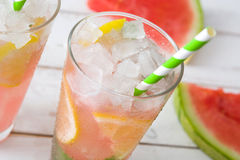Watermelon mojito on white wooden table Royalty Free Stock Image