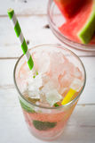 Watermelon mojito on white wooden table Royalty Free Stock Photo