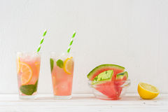 Watermelon mojito on white wooden table Stock Image