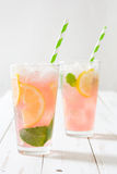 Watermelon mojito on white wooden table Stock Photography