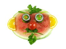 Watermelon with mustache and beard Royalty Free Stock Photos