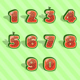 Watermelon numbers 1234567890 Stock Photo