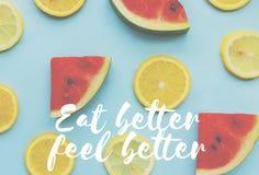Watermelon Orange Healthy Fresh Fruits Words Concept Stock Photos