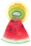 Watermelon, orange & kiwi pyramid. Watermelon, Kiwi and orange cross sections forming a pyramid of flavour Stock Photos