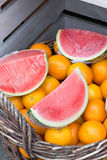 Watermelon and oranges Royalty Free Stock Photos