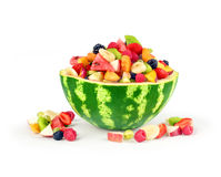Watermelon with other fruits. On white background Stock Images