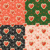 Watermelon and Paisley in Seamless pattern set Stock Photos