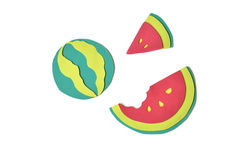 Watermelon paper cut on white background Stock Photo