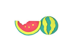 Watermelon paper cut on white background Royalty Free Stock Photo