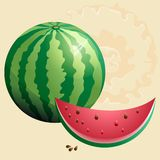 Watermelon. With part of  and seeds Royalty Free Illustration