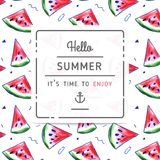 Watermelon pattern with 'hello summer' label Stock Images