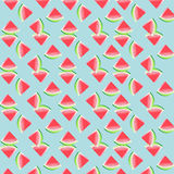Watermelon Pattern. Pink watermelon illustration pattern on a light blue background Royalty Free Stock Images