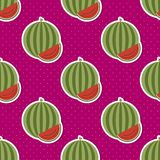 Watermelon pattern. Seamless texture with ripe watermelons Stock Photos