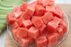 Watermelon peeled and cut Stock Photo