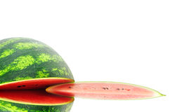 Watermelon. Photographed close-up on white background Stock Photos