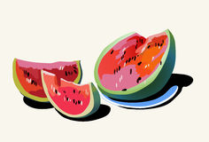WATERMELON. Picture, vector of juicy  in a picturesque manner Royalty Free Stock Image