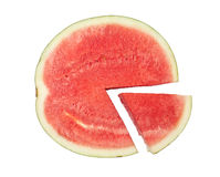 Watermelon pie chart. Slices of watermelon forming a pie chart isolated on white background Royalty Free Stock Image