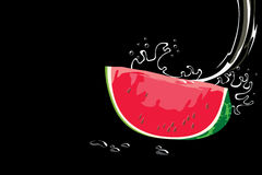 Watermelon piece and water drops Stock Image
