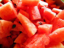 Watermelon pieces. A close up of watery bright red watermelon pieces Stock Photos