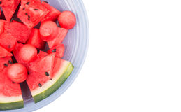 Watermelon pieces on blue plate Royalty Free Stock Image