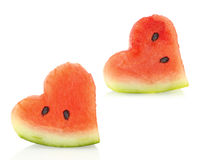 Watermelon pieces couple Royalty Free Stock Photography