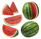 Watermelon pieces set isolated on white background stock images