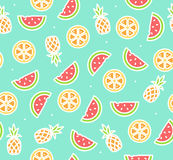 Watermelon, Pineapple and Orange Tropical Fruit Background Pattern. Vector Stock Photos