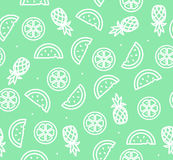Watermelon, Pineapple and Orange Tropical Fruit Background Pattern. Vector Royalty Free Stock Images