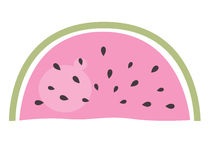 Watermelon - pink piece of fruit isolated on white vector illustration