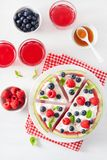Watermelon pizza slices with yogurt and berries, summer dessert stock images