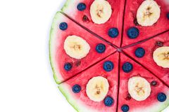Watermelon pizza on white Stock Image