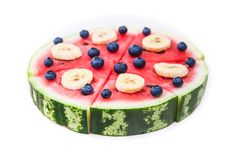 Watermelon pizza on white Royalty Free Stock Images