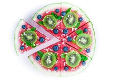 Watermelon pizza on white Stock Photography