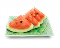 Watermelon on plate. On white background Royalty Free Stock Photo