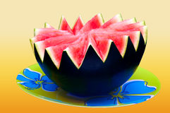 Watermelon on the plate - colour background - clipping path included Stock Images