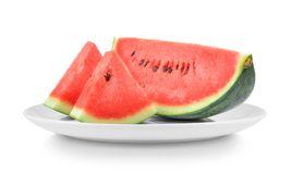 Watermelon in plate isolated on white background royalty free stock image