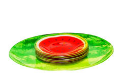 Watermelon plates Royalty Free Stock Photography
