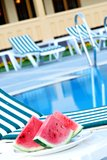 Watermelon at pool Stock Photo