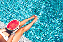 Watermelon in the pool Royalty Free Stock Photos