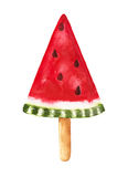 Watermelon popsicle. Hand drawn watercolor illustration. Stock Photo