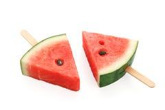 Watermelon popsicle yummy fresh summer fruit sweet dessert. White background Royalty Free Stock Photo