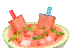 Closeup of watermelon popsicles Stock Photography
