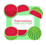 Watermelon poster concept. Food icons set collection. Hand drawn cartoon retro style. Pop art. Bright red, green color of watermelons. Summer time fruit Stock Image