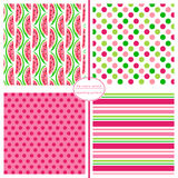 Watermelon seamless pattern with coordinating geometric prints. Royalty Free Stock Photo